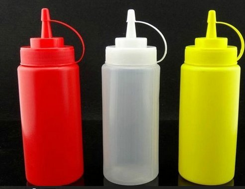 Domire 1pc yellow Medium-Sized Plastic Sauce Squeezer Bottle Dispenser - 12oz