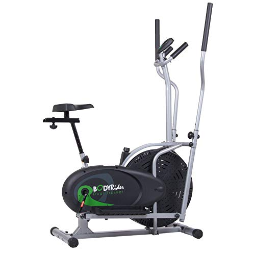 Body Rider Elliptical Trainer and Exercise Bike with Seat and Easy Computer / Dual Trainer 2 in 1 Cardio Home Office Fitness Workout Machine BRD2000 (Renewed)