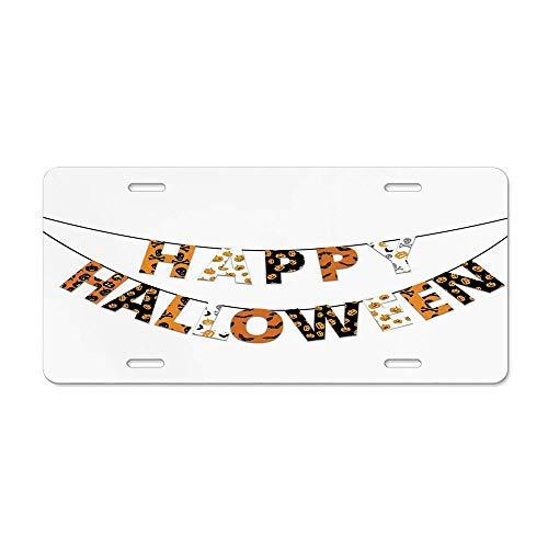 (FloralFlames Halloween,Happy Halloween Banner Greetings Pumpkins Skull Cross Bones Bats Pennant,Orange Black White Personalized Novelty License Plate Front Car Tag Metal 12 x 6 in)