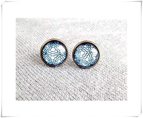 Blue Lace Stud Earrings ,Bridesmaids Gift Unique Jewelry Gift For Her,a beautiful gift.