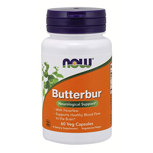 Feverfew Leaf Extract - NOW Supplements, Butterbur with Feverfew, 60 Veg Capsules