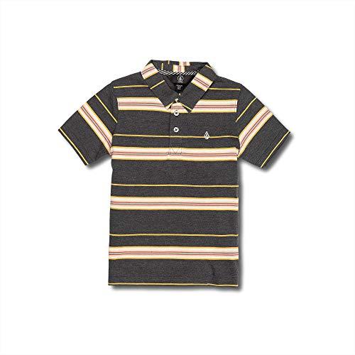 Volcom Little Boy's Wowzer Stripe Modern Fit Polo Shirt, Asphalt Black, ()