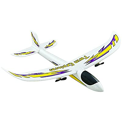 Dromida Twin Explorer Twin Motor Radio Controlled Electric Powered Glider RC Airplane, White/Yellow/Purple