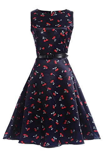 Price comparison product image Bai You Mei Girls Juniors Dress Vintage 50s Floral Sleeveless Garden Party With Belt Dress Cocktail Swing Dress SIZE 7-8T