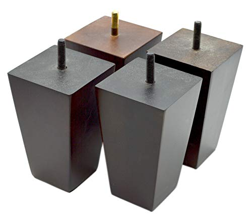 5 Inch Wood Furniture Legs Squared Tapered Finish, Set of 4. Great Sofa Legs With Mid-Century Modern Style, IKEA Conversion Kit Also Suitable for Coffee Table and Bed Legs. by wOod-it (Image #4)