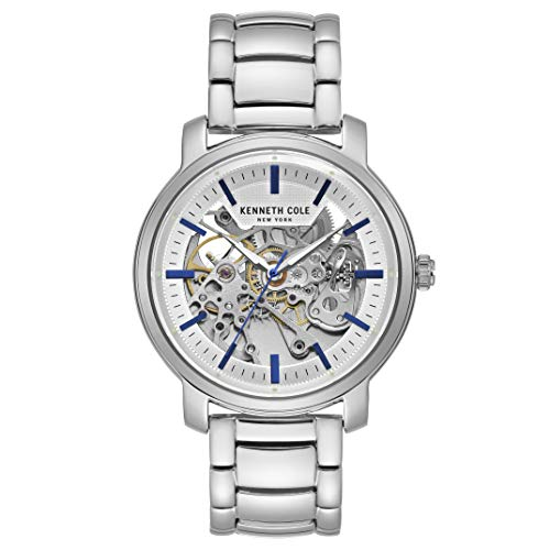 Kenneth Cole New York Mens Automatic Round Silver Stainless Steel Bracelet Watch