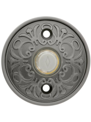 Solid Brass Lancaster Style Buzzer Button In Antique Pewter. Brass Door Bell Button.