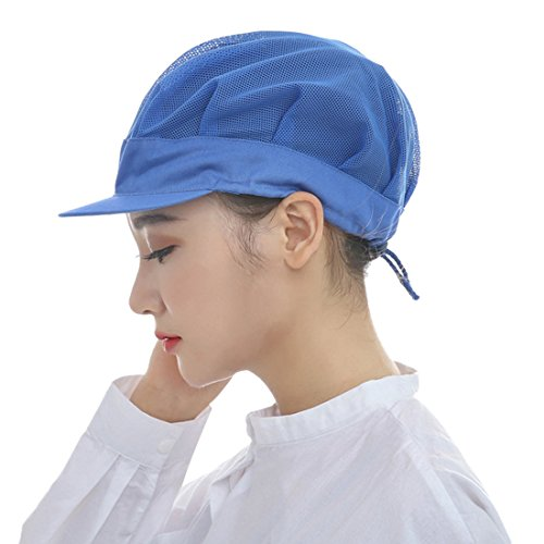 Jiyaru Men Women Chef Hat Adjustable Cooking Catering Cap Breathable Mesh Blue