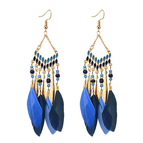 Price comparison product image BOOBODA Sexy Fringed with Bead Long Feather Earrings Hundred Matching Drop Earring Women Pendant Blue
