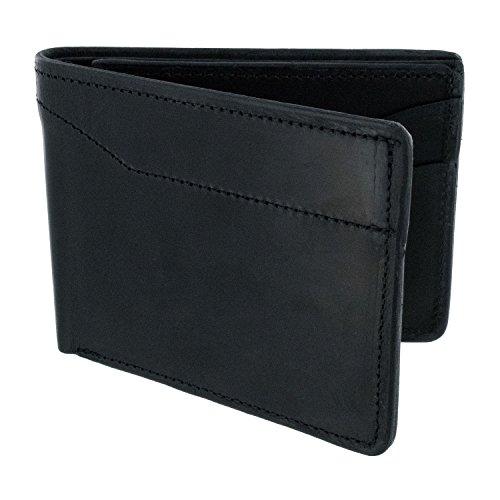 Hanks Medium Leather Bi-Fold Wallet – SLIM – SIMPLE – INDESTRUCTIBLE – Multi Card Holder – USA MADE - Black