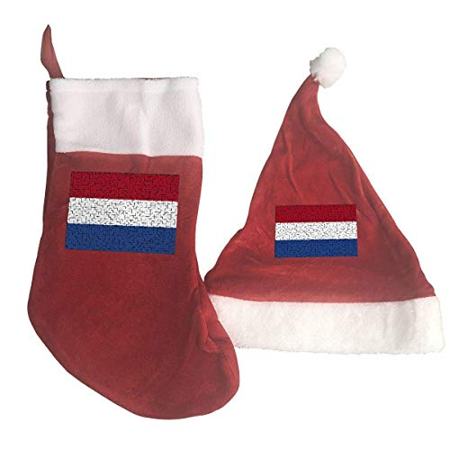 Netherlands Flag Puzzle Santa Hat & Christmas Stocking Holiday Christmas Decorations Party Accessory