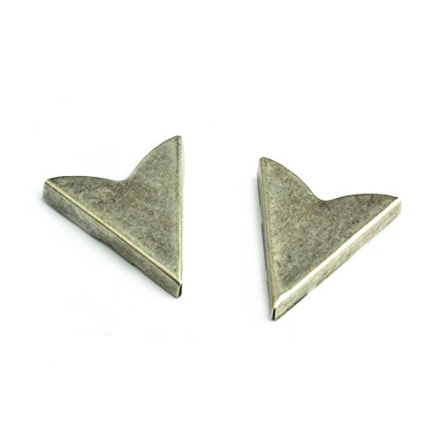 Antique Silver Finish Western Collar Tip with Smooth surface, 23x25mm