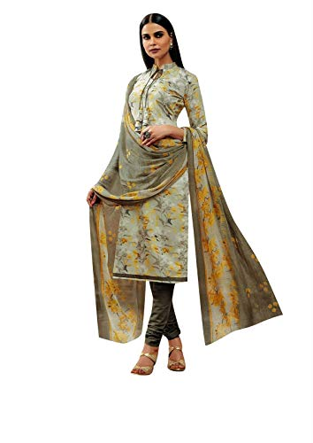 Ladyline Rayon Printed Salwar Kameez Womens Indian Dress (Size_52/ Gray)