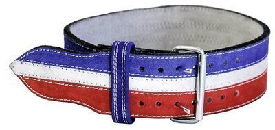 Ader Leather Power Weight Lifting Belt- 4'' Red/ White/ Blue (Medium)
