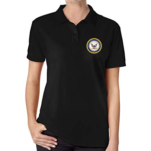 Seal of The United States Navy Women's Classic Polo Shirt Short Sleeve Golf Shirts