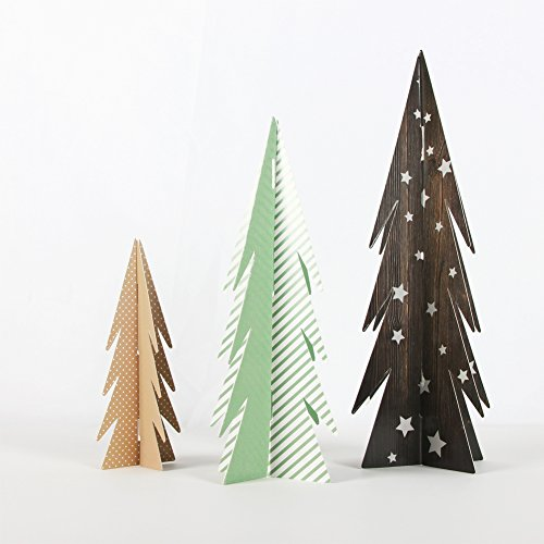 PAPERJAZZ 3PCS Christmas Tree Party Table Centerpiece Small 3D Paper Crafts for Home Xmas Decoration ()