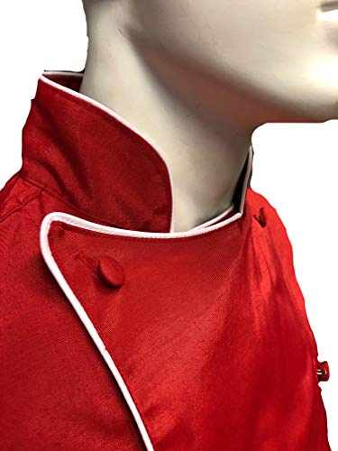 CHEFSKIN Deluxe Chef Jacket Coat RED with White Piping Soft Twill Fabric Great Gift!