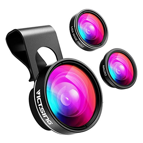 VicTsing 3 in 1 Phone Camera Lens, Wide Angle Lens + 10X Macro Lens (Screwed Together), 180° Fisheye Lens, Cell Phone Lens Kits Compatible with iPhone 8/7/6s, Most Android and Smart Phone- Dark Grey