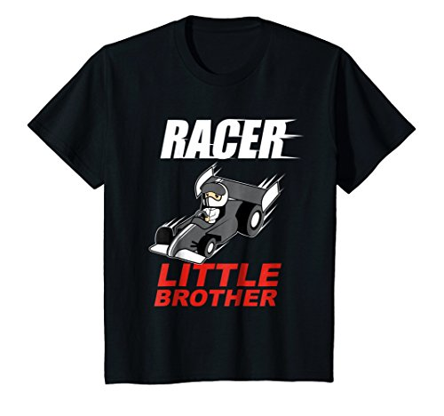 - Kids Racer Little Brother T-Shirt - Race Car Driver Boys Tee