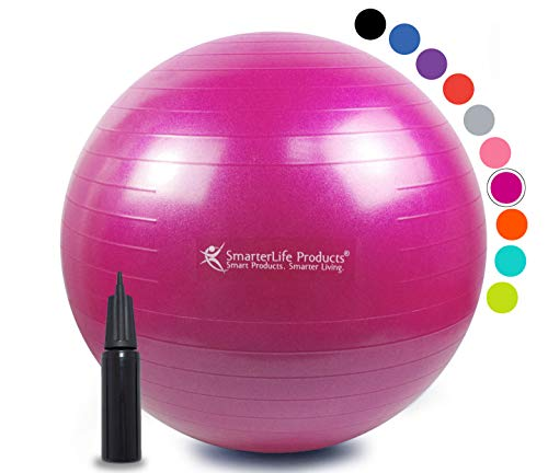 Exercise Ball for Yoga, Balance, Stability from SmarterLife - Fitness, Pilates, Birthing, Therapy, Office Ball Chair, Classroom Flexible Seating - Anti Burst, No Slip, Workout Guide (Fuchsia, 65 cm) by SmarterLife Products (Image #8)