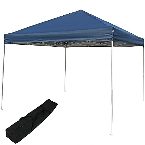 Sunnydaze Pop Up Canopy Tent 12 x 12 Foot with Outdoor Carrying Bag, Navy Blue
