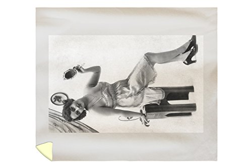 Pin-Up Girl Holding Mirror, But Not Looking (88x104 King Microfiber Duvet Cover) by Lantern Press