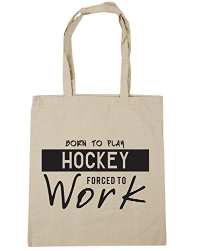 HippoWarehouse Born to Play Hockey Gezwungen to Work Einkaufstasche Fitnessstudio Strandtasche 42cm x38cm, 10 liter - Natürlich, One size