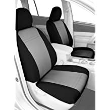 CalTrend Front Row Bucket Custom Fit Seat Cover for Select Ford F-150 Models - NeoSupreme (Light Grey Insert and Black Trim)