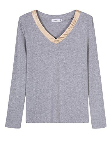 Coolmee Womens V-Neck Sleepwear Short Sleeve Pajama Set with Pj Set Top & Pants
