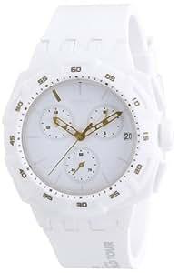 Swatch SUIW413 - Reloj analógico de mujer de cuarzo con correa de silicona blanca