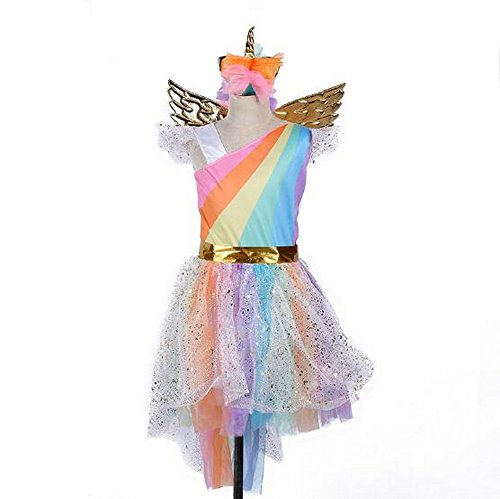 Girls Unicorn Mesh Tulle Tutu Dresses Costume with Hair Hoop Gold Wings Set for Birthday Theme Party Cosplay (S)