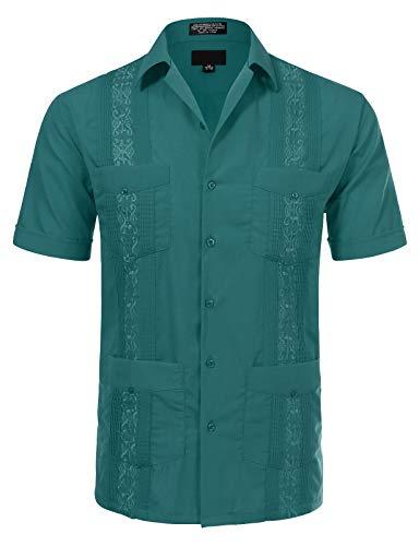 JD Apparel Men's Short Sleeve Cuban Guayabera Shirts20-20.5N 4XL Teal