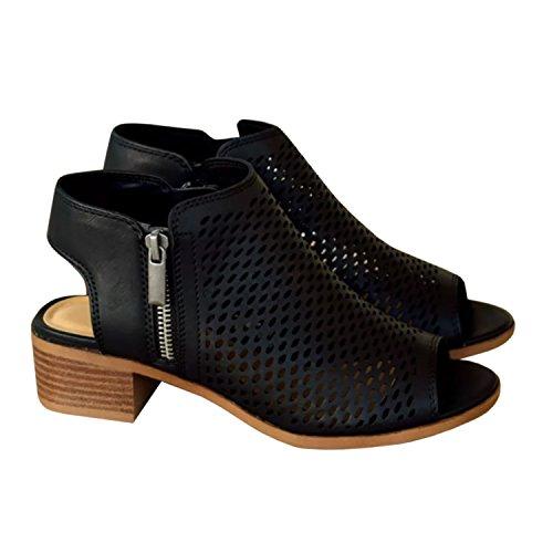 Bbalizko Womens Hollow Out Ankle Heeled Mid Heel Bootie Open Peep Toe Leather Boot Side Zipper Black
