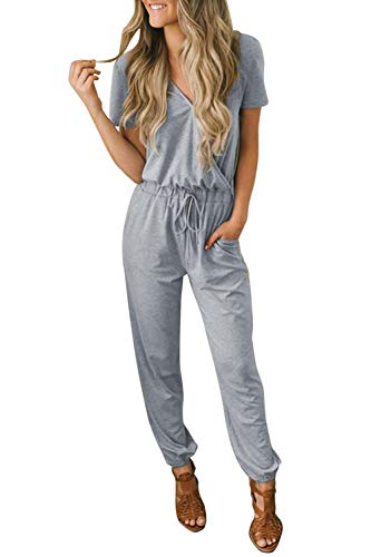 Fixmatti Women Jumpsuit Casual V Short Sleeve Lace up Waist Long Romper Grey S