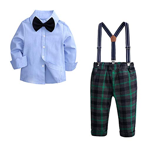 (Fairy Baby Little Boys Gentleman Outfit Clothes Kid Solid Shirt+Plaid Strap Pant Set Size 3T (Green Plaid) )