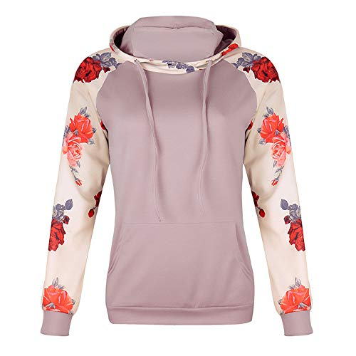 Rambling Women's Casual Long Sleeve Raglan Casual Floral Print Drawstring Pullover Top Blouse with Kangaroo Pocket by Rambling (Image #1)