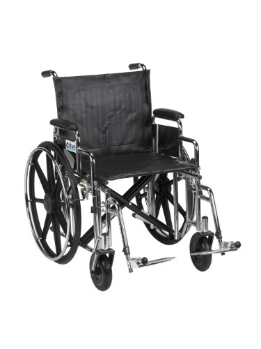 Style Seat Upholstery - Drive Medical Sentra Extra Heavy Duty Wheelchair with Various Arm Styles and Front Rigging Options, Black Upholstery and Chrome Frame, Bariatric 20