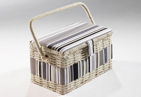 Nähkorb eckig weiß Textil in grau
