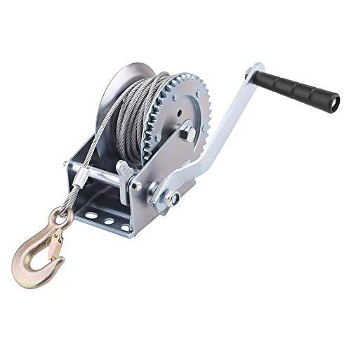 2000lbs Hand Winch With Strap Cable Hand Crank Gear Winch With Automatic Brake Auto Manual Winch for ATV Boat Trailer (2000lbs)