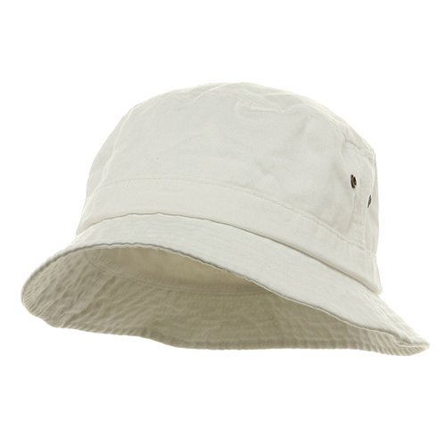 Wholesale Pigment Dyed Twill Washed Bucket Hat (White) Size: M/L - 21886 (Bucket Hat Wholesale)