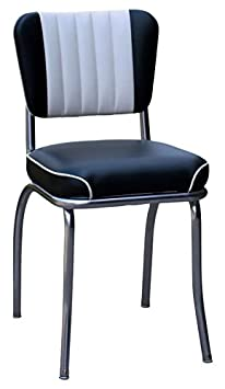 Richardson Seating Two Tone Channel Back Retro Diner Chair with Waterfall Seat, Black and White, 2