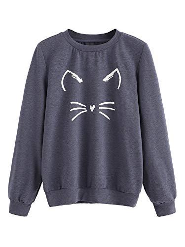(Romwe Women's Cat Print Sweatshirt Long Sleeve Loose Pullover Shirt Blue X-Large)