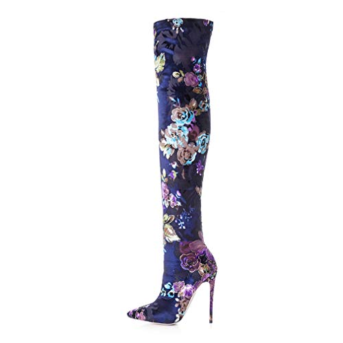 - T-JULY Women's New Pointed Toe High Heels Print Flower Shoes Fashion Autumn Over-The-Knee Boots Blue