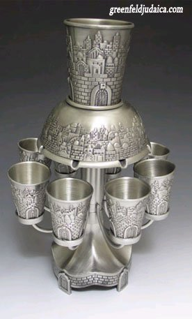 (Jerusalem Motifs Pewter 8 Cup Kiddush Wine Fountain )