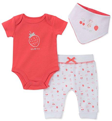 reeper Pant Set with Bib, Coral, 3-6 Months (Absorba Cotton Bib)