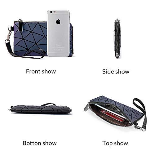 Portafoglio Donna Geometrico, Luminoso Olografico Portamonete alla Moda Borsa Handy con Zip Borsa Donna