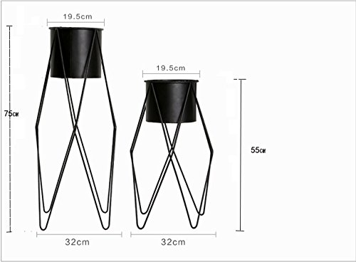 Simple modern iron flower pots / living room balcony coffee shop floor style flower racks ( Size : 323255cm ) by Flower racks - xin