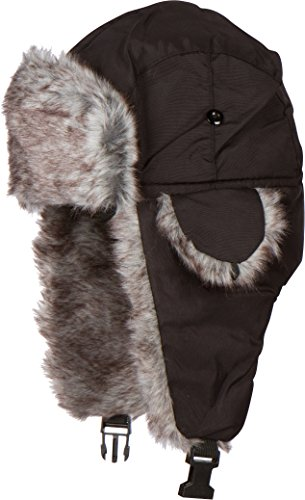 Sakkas Unisex Weatherproof Nylon Faux Fur Lined Winter Earflap  Trooper Aviator Hat (Lined Aviator)