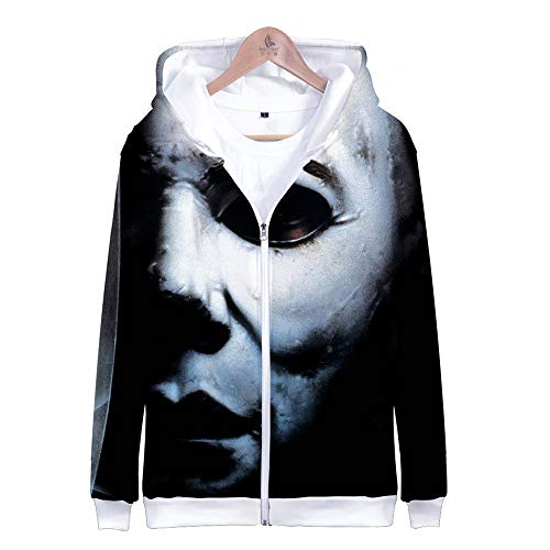 Jerebko Michael Myers Halloween Digital Print 3D and Leisure Suit for Daily Wear Zip-Up Hoodie H Style XXL -
