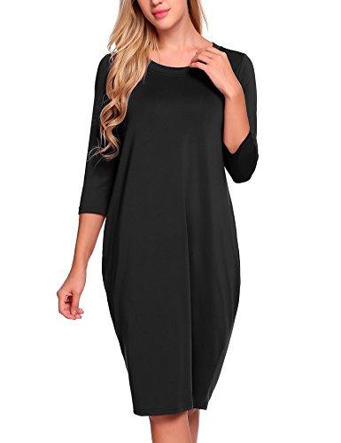 - ANGVNS Women's 3/4 Sleeves Round Collar Loose Bubble Shape Midi Dress,Black,Large
